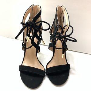 Black Suede Ankle Heels